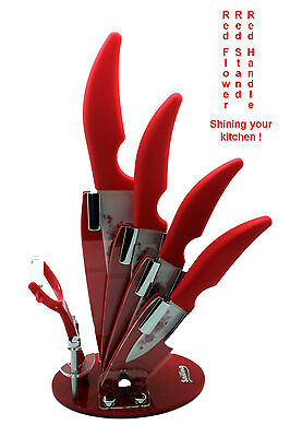 "Sailing 6 pcs Ceramic Kitchen Knife Set with Peeler and Holder: 3"" 4"" 5"" 6"""
