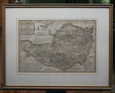 Map of Somerset Shire by Emanuel Bowen (1767) - original, hand-coloured