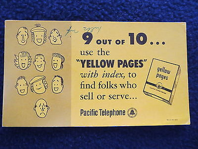 Vintage Blotter Yellow Pages Pacific Telephone Classified Directory 1950
