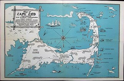 Cape Cod MA Barnstable Provincetown Hyannis 1946 vintage cartoon map sea monster
