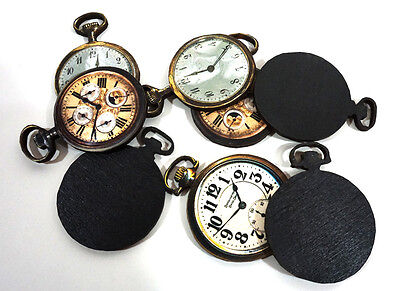 Pocket Watches - Collection of 8 Wooden Distressed Watches - Altered Art Pieces