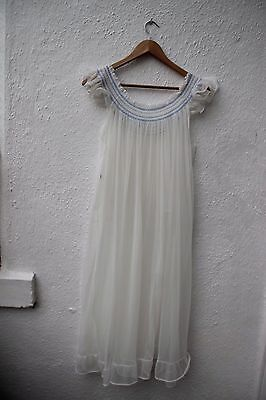 vintage night gown long nylon white blue sheer frill 60s 70s negligee med dress