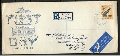 South Africa 1961 Definitives Registered Cover Cancelled to Stockport UK