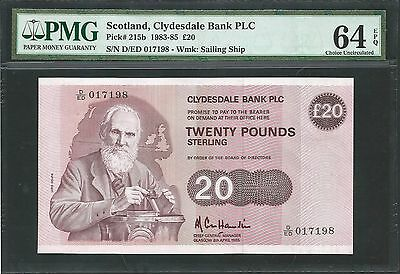 Scotland, Clydesdale Bank PLC 1985 P-215b PMG Choice UNC 64 EPQ 20 Pounds