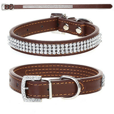 Brown Rhinestone Diamante Crystal Bling PU Leather Puppy Dog Cat Pet Collar Tags