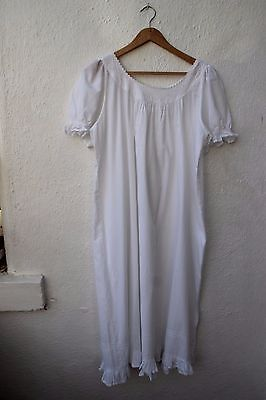 vintage night dress white 100% cotton free size embroidered frill puff long