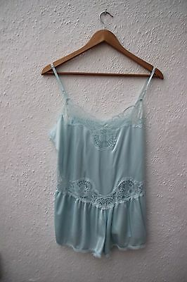 vintage baby blue lace teddy lingerie cami knickers playsuit all in one 1980s
