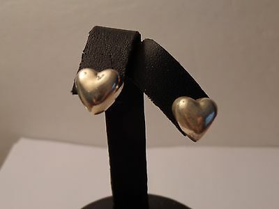 Tiffany & Co Sterling Silver Puffed Heart Stud Earrings-No box or bag