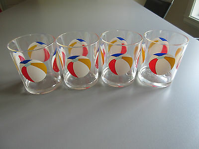 A Set of 4 Glasses H.J. STOTTER  12oz  Acrylic Glasses / Beach Ball Pattern