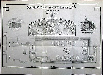 Brooklyn New York Mannings Yacht Agency c.1895 antique lithographed advert map