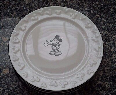 """DISNEY PARKS Mickey Mouse Sketch 8"""" Dishes - Set of 6 - RARE"""