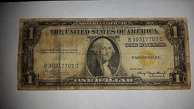 Series 1935 A Yellow Seal One Dollar Silver Certificate