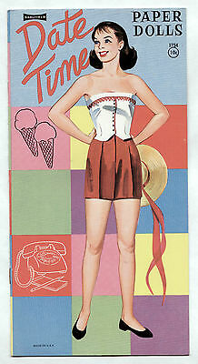 Vintage Saalfield #1754 DATE TIME paper dolls book 1960 uncut/unused
