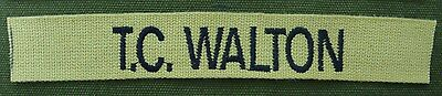 CUSTOM MUSTARD EMBROIDERED NAME TAPE VARIOUS COLOR LETTERS Velcro® Option
