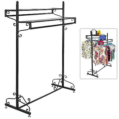 Victorian Style Boutique Clothes / Garment Display Rack w/ Dual Hangrail & Cargo