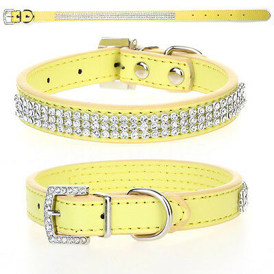 Yellow Rhinestone Diamante Crystal Bling PU Leather Puppy Dog Pet Collar Tags