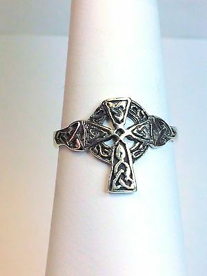 Sterling Silver 925 Classic CELTIC CROSS Ring Band Size 13.5