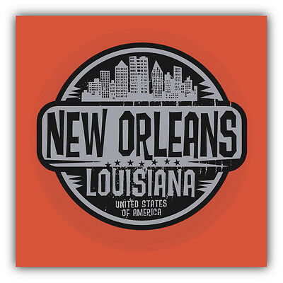 New Orleans City USA Grunge Label Car Bumper Sticker Decal 5'' X 5''