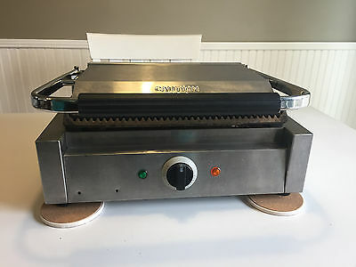 AdCraft Stainless Panini Grill Single Press Grated Grill Commercial SG-811EB