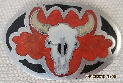 Vintage Silver with Coral Inlay Belt Buckle - Western Style Steer Bull