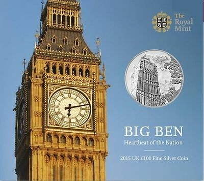 The Royal Mint Big Ben 2015 UK £100 Fine Silver Coin  New Sealed