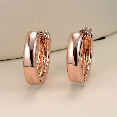 New 18k Rose Gold Filled Womens Earrings Hoops Fashion Jewelry Christmas Gift