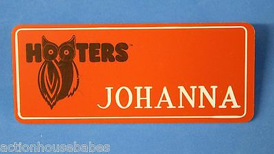 ORANGE HOOTERS GIRL NAME TAG PIN (name in white) JOHANNA