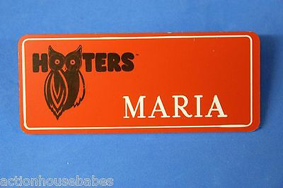 ORANGE HOOTERS GIRL NAME TAG PIN (name in white) MARIA