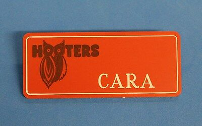 HOOTERS RESTAURANT GIRL CARA ORANGE NAME TAG / PIN -  Waitress Pin