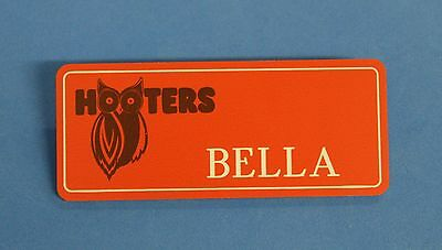 HOOTERS RESTAURANT GIRL BELLA ORANGE NAME TAG / PIN -  Waitress Pin