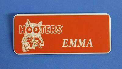 HOOTERS RESTAURANT GIRL EMMA ORANGE NAME TAG / PIN -  Waitress Pin