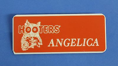 HOOTERS RESTAURANT GIRL ANGELICA ORANGE NAME TAG / PIN -  Waitress Pin