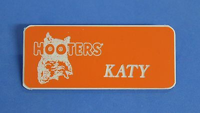 HOOTERS RESTAURANT GIRL KATY ORANGE NAME TAG / PIN -  Waitress Pin