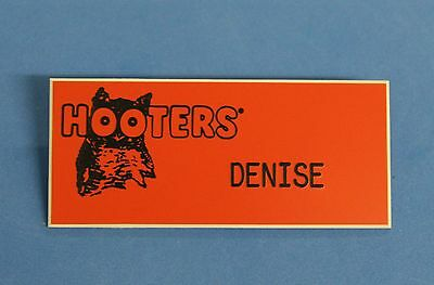 HOOTERS RESTAURANT GIRL DENISE ORANGE NAME TAG / PIN -  Waitress Pin
