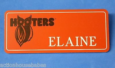 ORANGE HOOTERS GIRL NAME TAG PIN (name in white) ELAINE