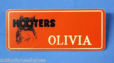 ORANGE HOOTERS GIRL NAME TAG PIN (name in white) OLIVIA