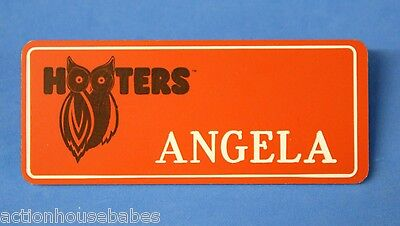 ORANGE HOOTERS GIRL NAME TAG PIN (name in white) ANGELA