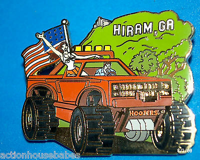Hooters Restaurant Big Red Truck American Flag Girl Guy Hiram Ga Lapel Pin