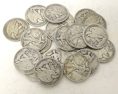 One (1/2) Roll Of Walking Liberty Half Dollars 50 Cents .. 90% Silver Coin Lot *