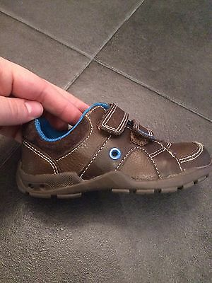 Clarks boys Brown And Blue Light Up Leather Shoes Infant 4.5