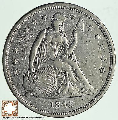 1843 Seated Liberty Silver Dollar *2338