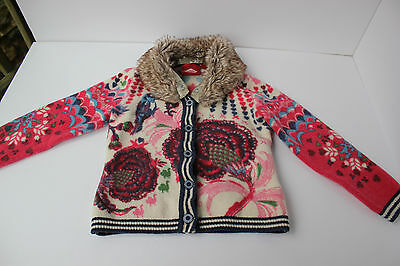 oilily girls sweater button up front removable faux fur collar SZ 5/6  EU 116