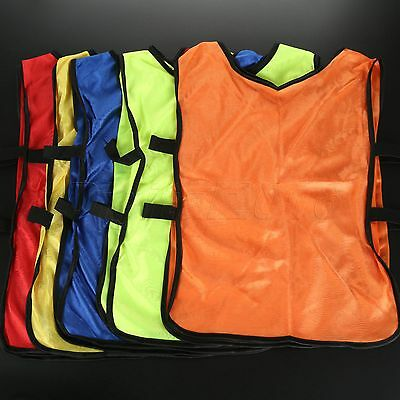5pcs Rugby Hockey Mesh Football Sports Children Soccer Training Vest Tops Bibs