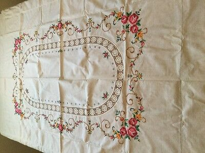 """Vintage Cross Stitch Linen Table Cloth Hand Made Aruba Embroidered 54""""x72"""""""