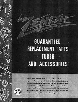 ZENITH Antique Radio Parts Catalog on CD