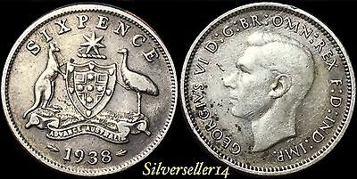 Australia 1938 Silver Six Pence Better Date Scarce Coin #173