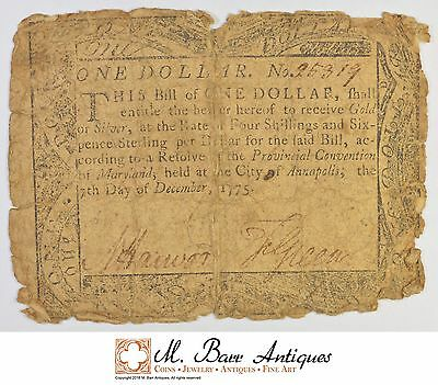 1775 $1.00 MAryland Colonial Currency *368