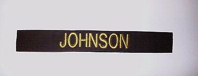 CUSTOM CHOCOLATE BROWN EMBROIDERED NAME TAPE VARIOUS COLOR LETTERS Velcro®