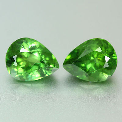 3.660 Ct 100% Natural Very Rare To Find Green Color Apatite Pear Cut Pair