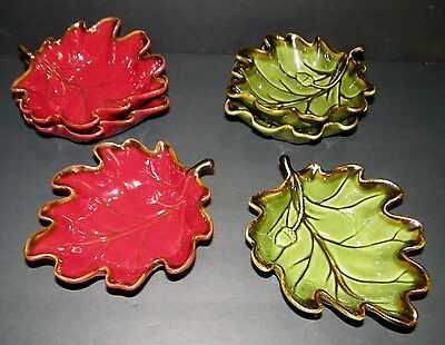 NEW!! TARGET HOME Leaf Shape Soup Dip Serving Bowl Green Red with Gold Trim